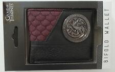 Game Of Thrones House Targaryan Logo Metal Badge Gift Boxed Bifold Wallet NWT