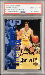Jerry West Signed 1995 Upper Deck #353 Card Lakers HOF 1980 Insc PSA/DNA Auto 10