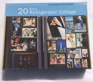 Clear Magnetic Word Picture Frames - 20 Piece Refrigerator Collage - 5 Sizes