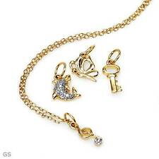 Charms Necklace With Genuine Diamond Made of 14K/925 Gold plated Silver