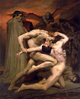 Dream-art Oil painting Dante and Virgil in Hell & Man-eating demon strong NUDES