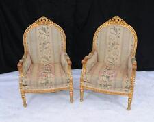 Pair Louis XV Gilt Arm Chairs Armchair Tub Hand Carved