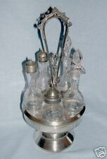 Silverplate Victorian Castor Set with Cut Glass Cruets
