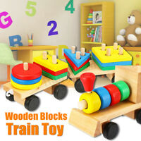 Wooden Train Building Block Children Educational Toy Stacking Block Wood Gift AU