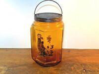 ANTIQUE Amber Glass GLOBE TOBACCO JAR Uncle Tom Label Tax Stamp 1890 Tin Lid