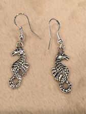 Cute New Tibetan Silver Seahorse Dangle Drop Earrings w/Silver Ear Wires