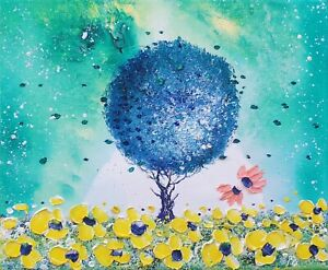 Magic Tree & Flowers in Love, an original oil painting on canvas, by Phil Broad
