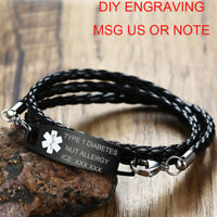 Medical Alert ID Tag Black Braided Leather Bracelet Personalized Free Engraving