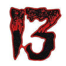 "Number ""13"" Blood Red Patch Kreepsville Unlucky Thirteen Craft Iron-On Applique"