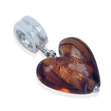 925 Sterling Silver Heart Brown Murano Glass Dangle Threaded European Charm Bead
