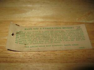 Genuine Creek Chub Bait Co. River Rustler Fishing Lure Box Cardboard Insert