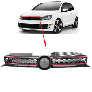 Fit Vw Golf Mk6 09-13 Front Main Centre Grille Gti Only Black With Red Slats New