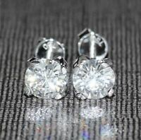 7mm Round Cut Moissanite Women's Solitaire Stud Earrings 14K White Gold Finish