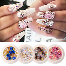 Rose Flowers Pearl 3D Nail Rhinestone Gems Acrylic Tips Nail Art Decoration