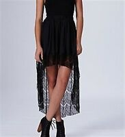 NWT Coco's Fortune Eyelash Lace Trim Mullet Hem Skirt Black Size Small (A22)