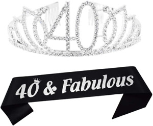 40Th Silver Birthday Tiara And Sash Happy 40Th Birthday Party Supplies 40 Fabulo