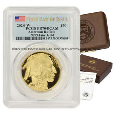 2020-W $50 Gold Buffalo PCGS PR70DCAM FDOI First Day of Issue Proof coin w/ OGP