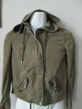 H&M Divided - Army Green,Unstrutured Zip Up UNLINED Croped Hooded jacket Size 32
