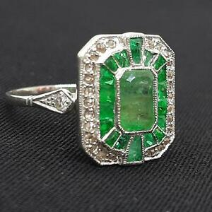 $5,000 Antique Platinum 2.10ctw Emerald French Cut & G/H-SI Old Cut Diamond Ring