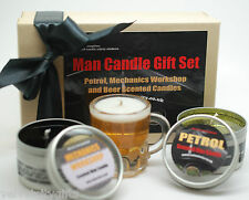 Unusual Fathers Day Gift Set Man Candles for Men Petrol, Tyre Beer Scented