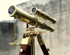 Antique Brass Spyglass Telescope With Wooden Tripod Marine Scope