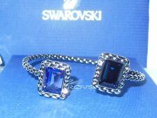 "GENUINE Signed SWAROVSKI ""Veni"" Montana Blue & Tanzanite Crystal Open Bangle"