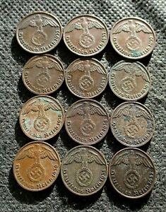 AUTHENTIC OLD COINS THIRD REICH GERMANY 1&2 REICHSPFENNG WORLD WAR II - MIX 766