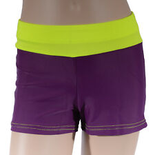 Girls Maroon Fluro Yellow Bike Shorts, Girl's Athletics Active Dance Gymnastics