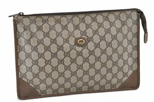 Authentic GUCCI Clutch Bag GG PVC Leather Brown D9726