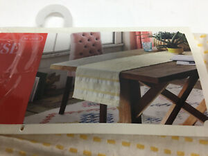 White Yellow Table Large Table Runner by Opalhouse by Target, new NWT