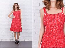 Vintage 70s Red Boho Dress Floral Print A Line Small S