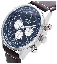 Rotary uomo GS03642/05 cronografo svizzero cinturino in pelle marrone Watch-NEW