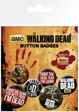 WALKING DEAD PHRASES 6 PACK OF BADGES NEW 100% OFFICIAL MERCHANDISE
