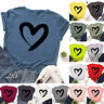 Womens Shirt Ladies Pullover Loose Casual Tee Heart Blouse Short Sleeve Tops