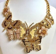 Joan Rivers Limited Edition Neutral Crystal Enamel Butterfly Necklace