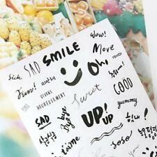 8 Sheets Simple Paper Stickers for Diary Notebook Phone Journal English Sticker