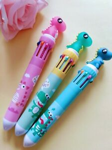 10in1 Dinosaur Multicolour Ballpoint Pen School Kids Boys Girls Birthday Gift