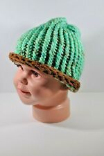 Mint Green & Chocolate Brown Hand Knit Hat Beanie Toddler Child 100% Acrylic