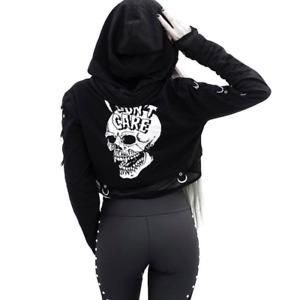 Goth Female Harley Quinn Style Skull Sweatshirts Hoodie-Carefree