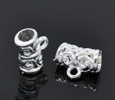 100 Silver Plated Pattern Hollow Tube Charms Bail Beads Jewelry Findings 11x5mm