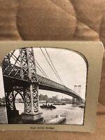Vintage East River Bridge New York Stereoview Photo Card