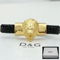 """DG 8.5"""" Men's,Stainless Steel.Gold Black Braided Leather,LION HEAD.Bracelet**BOX"""