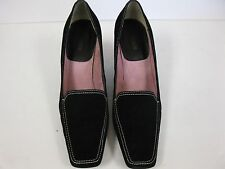Ann Marino Suede Square Toe Wedge Shoes Size 9.5 Black Mission Leather