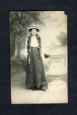 c1910 Photo Card: Lady Standing with Hat, Scarf & Umbrella
