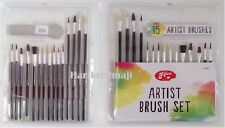 15 PIECE ARTIST BRUSH SET ASSORTED PAINT BRUSHES HOBBY MODELS CRAFT