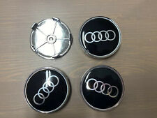 4x Audi Roue Auto Adhv Centre Cap Hub Caps Badge Autocollant Emblème Logo Noir 50 mm