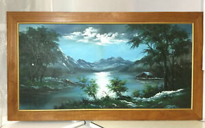 Large Vintage Oil Painting Mountain By The Lake Scene