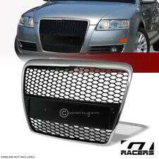 For 2005-2007 Audi A6 Chrome/Black Rs-Sport Honey Mesh Front Bumper Grill Grille