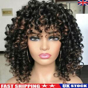 Women Afro Curly Kinky Full Wig Short Curly Hair Wigs Brazilian Fancy Cosplay UK