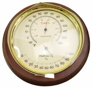 """Timex Handcrafted 8.25"""" Walnut Wooden Case Thermometer with Hygrometer New"""
